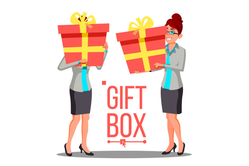 business-woman-holding-red-gift-box-vetor-holidays-present-concept-isolated-illustration