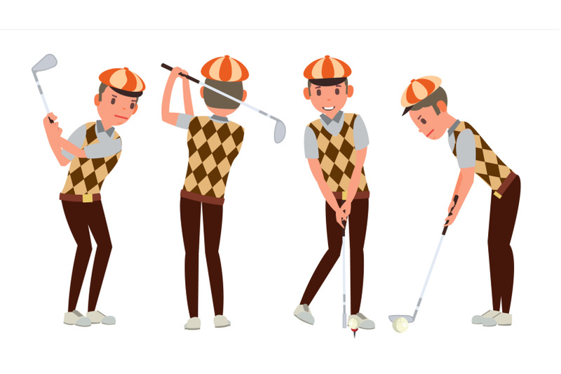 classic-golf-player-vector-swing-shot-on-course-diferent-poses-flat-cartoon-illustration