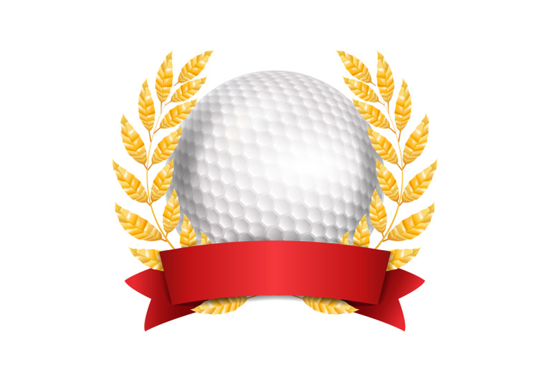 golf-award-vector-sport-banner-background-white-ball-red-ribbon-laurel-wreath-3d-realistic-isolated-illustration