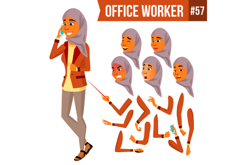 arab-office-worker-vector-woman-traditional-clothes-islamic-hijab-professional-officer-clerk-adult-business-female-lady-face-emotions-various-gestures-animation-creation-set-illustration