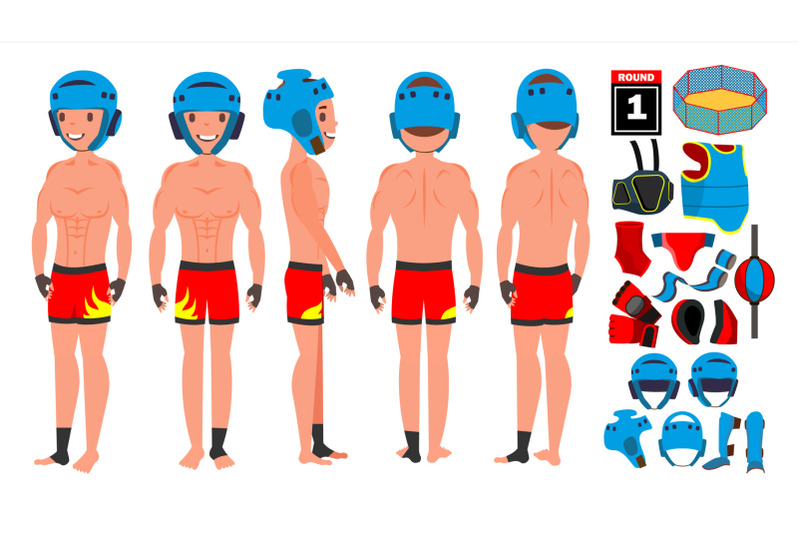 mma-man-player-male-vector-preparing-for-training-traditional-fighting-poses-cartoon-athlete-character-illustration