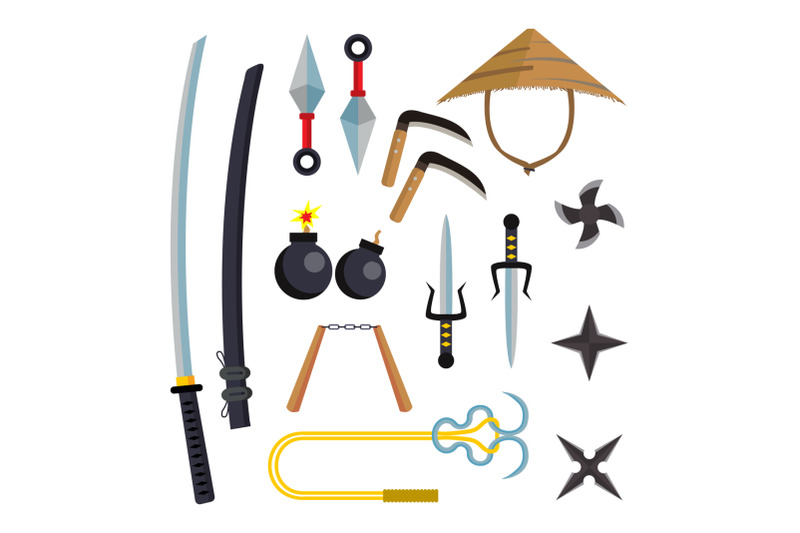 ninja-weapons-set-vector-assassin-accessories-star-sword-sai-nunchaku-throwing-knives-katana-shuriken-isolated-flat-cartoon-illustration