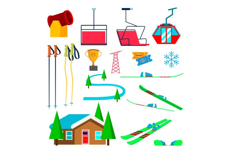 skiing-icons-set-vector-skiing-accessories-skis-snow-gun-snowflake-lift-elevator-mountains-winter-sport-glasses-isolated-flat-cartoon-illustration