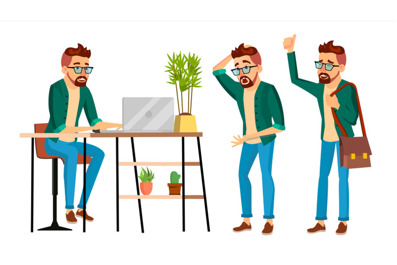 business-man-character-vector-hipster-working-man-environment-process-in-start-up-office-studio-male-programmer-designer-isolated-on-white-cartoon-business-character-illustration