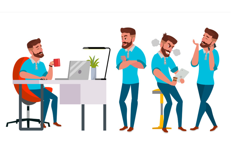 business-man-character-vector-working-male-environment-process-start-up-bearded-casual-clothes-full-length-programmer-manager-expressions-flat-cartoon-business-character-illustration