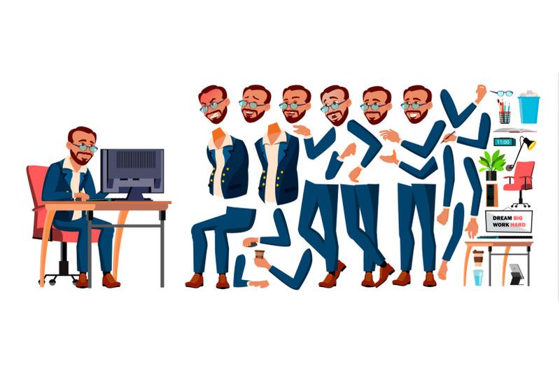 office-worker-vector-turkish-turk-animation-creation-set-businessman-worker-lifestyle-generator-animated-elements-front-side-view-job-partner-clerk-servant-employee-cartoon-illustration