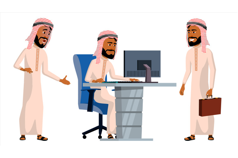 arab-man-office-worker-vector-traditional-clothes-islamic-face-emotions-animated-elements-various-gestures-business-human-smiling-manager-servant-workman-officer-flat-character-illustration