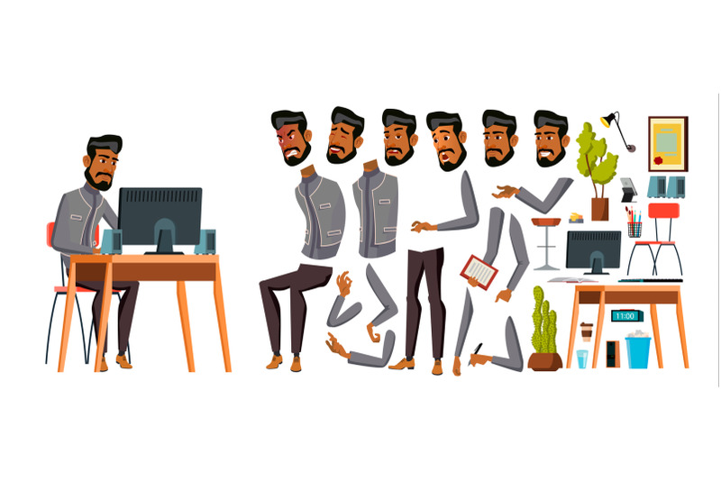 arab-man-office-worker-vector-animation-creation-set-generator-emotions-animated-elements-gestures-business-human-muslim-in-traditional-clothes-saudi-emirates-qatar-uae-illustration