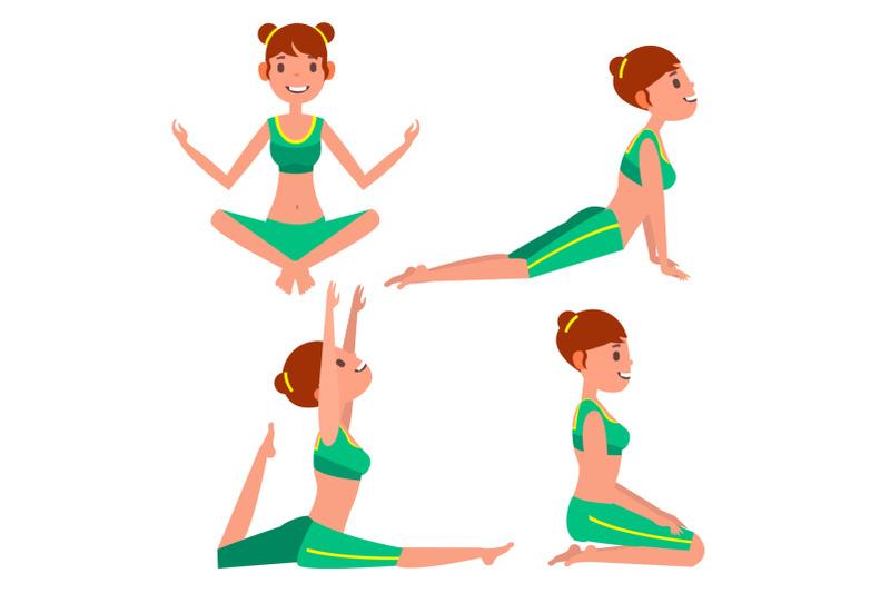 yoga-woman-poses-set-vector-girl-yoga-exercise-doing-fitness-sport-flat-cartoon-illustration