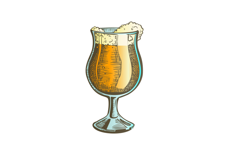 hand-drawn-glass-on-leg-color-with-foam-beer-vector