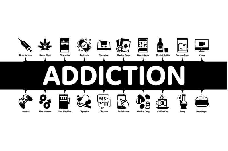addiction-bad-habits-minimal-infographic-banner-vector