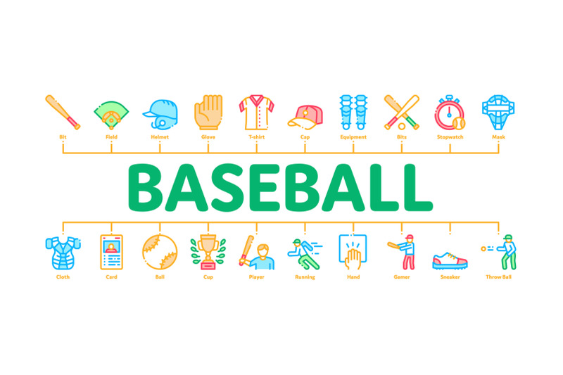 baseball-game-tools-minimal-infographic-banner-vector