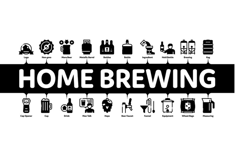 home-brewing-beer-minimal-infographic-banner-vector