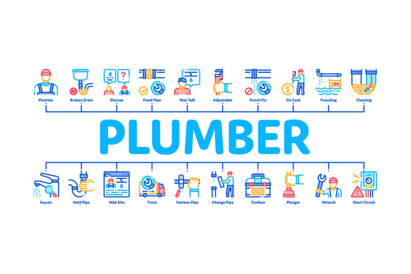 plumber-profession-minimal-infographic-banner-vector