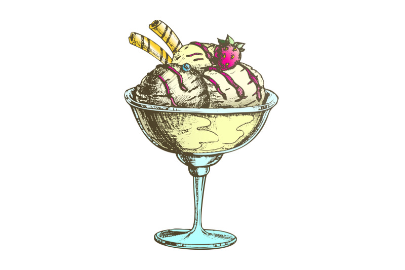 color-scoop-ice-cream-cup-with-fruit-hand-drawn-vector