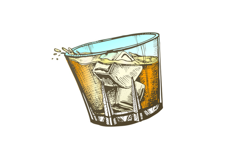 color-design-glass-with-whisky-and-ice-cubes-vector
