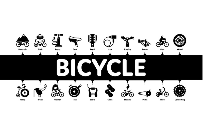 bicycle-bike-details-minimal-infographic-banner-vector
