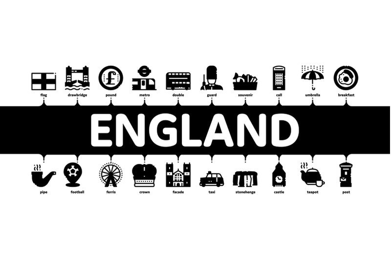 england-united-kingdom-minimal-infographic-banner-vector