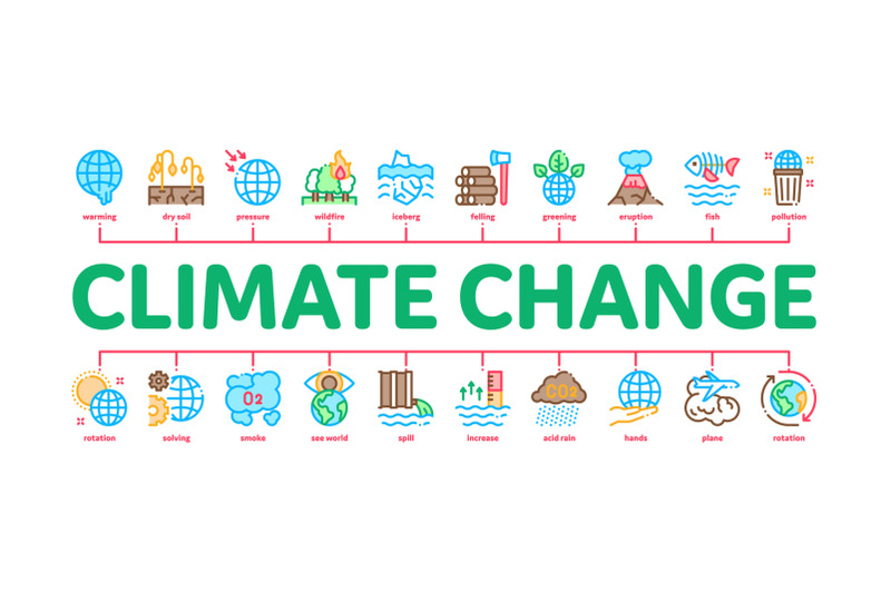 climate-change-ecology-minimal-infographic-banner-vector