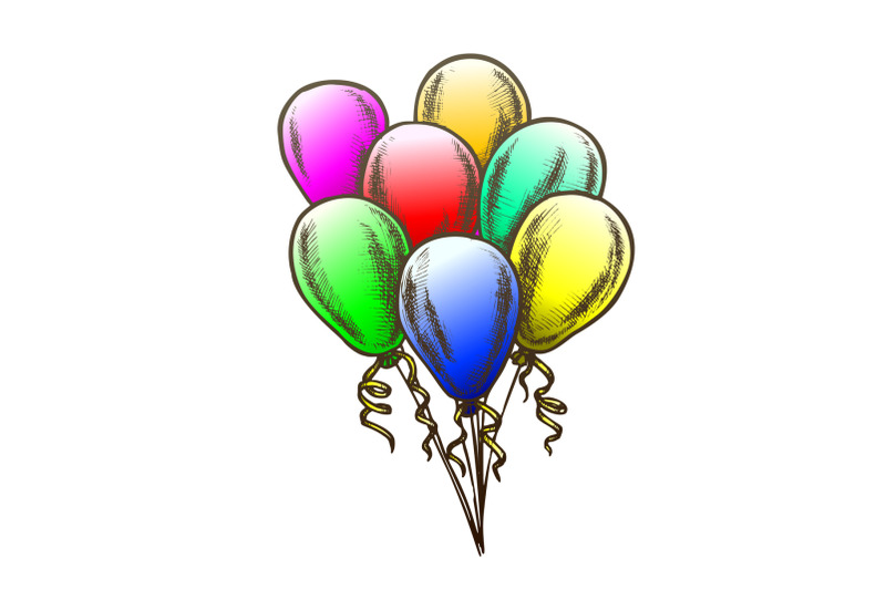 balloons-bunch-with-curly-ribbon-retro-vector