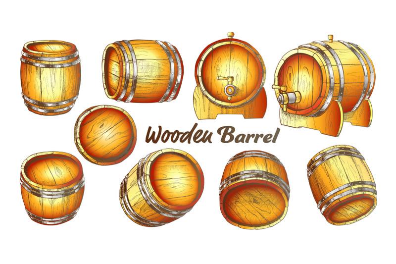 vintage-wooden-barrel-in-different-side-color-set-vector