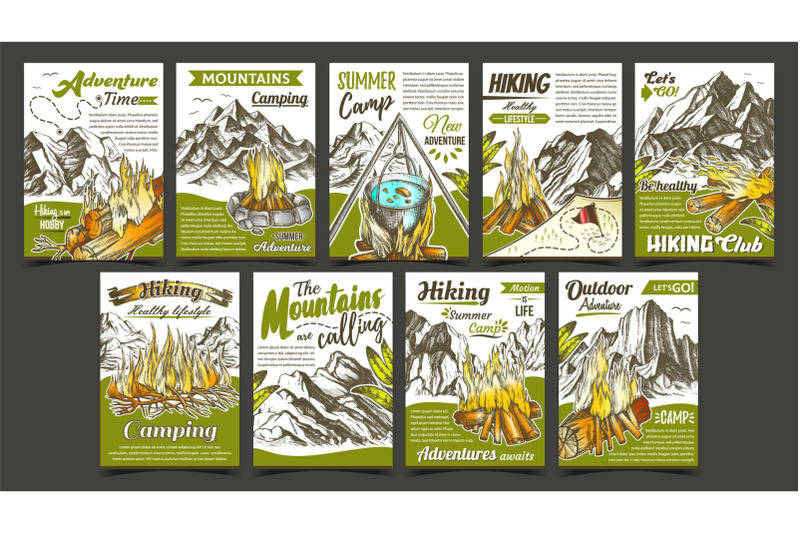 hiking-summer-camp-advertising-banners-set-vector