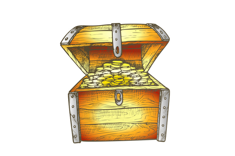 treasure-chest-filled-golden-coins-color-vector