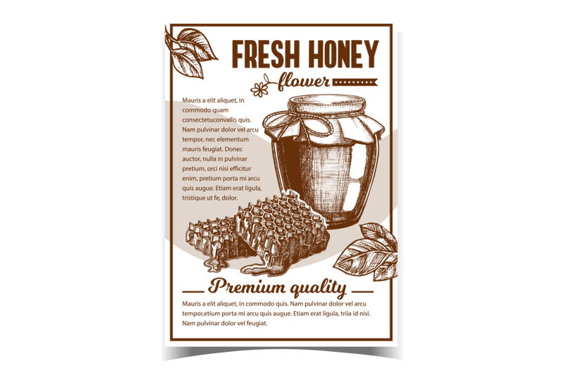 honey-in-bottle-and-honeycombs-on-poster-vector