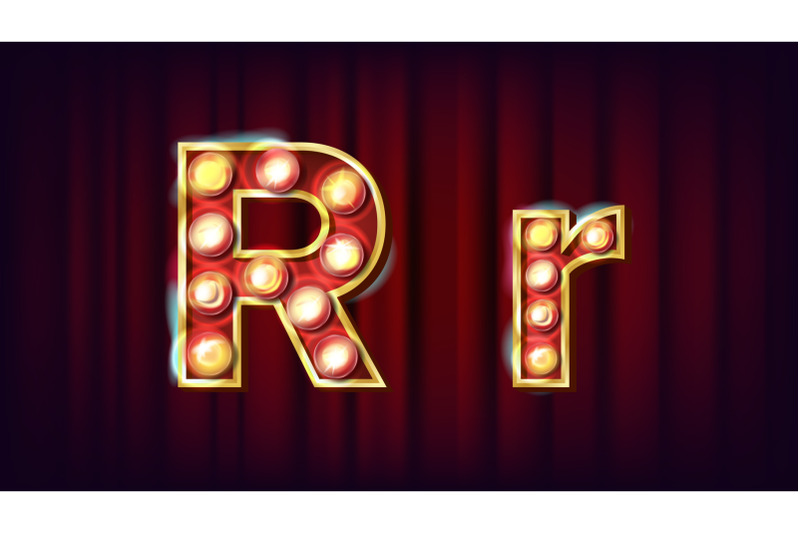 r-letter-vector-capital-lowercase-font-marquee-light-sign-retro-shine-lamp-bulb-alphabet-3d-electric-glowing-digit-vintage-gold-illuminated-light-carnival-circus-casino-style-illustration