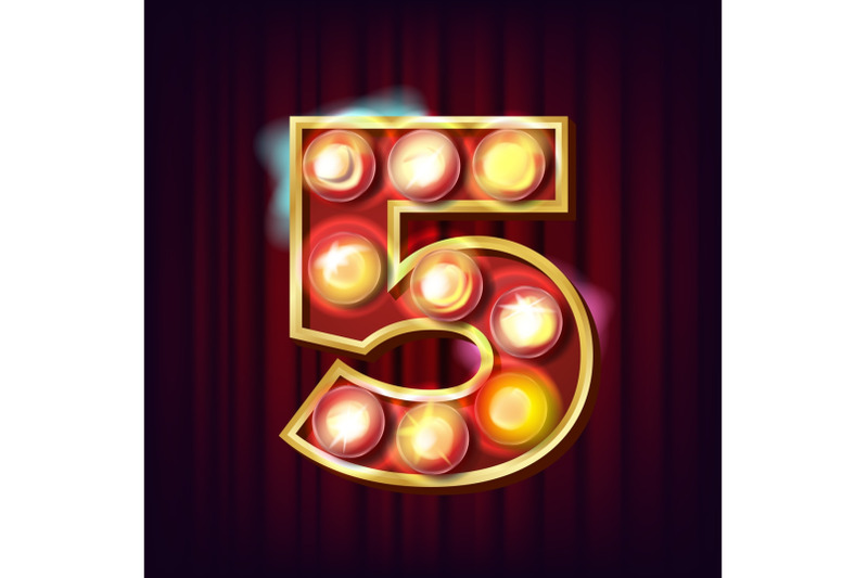 5-number-vector-five-font-marquee-light-sign-realistic-retro-shine-lamp-bulb-3d-electric-glowing-digit-vintage-golden-illuminated-neon-light-carnival-circus-casino-style-alphabet-illustration