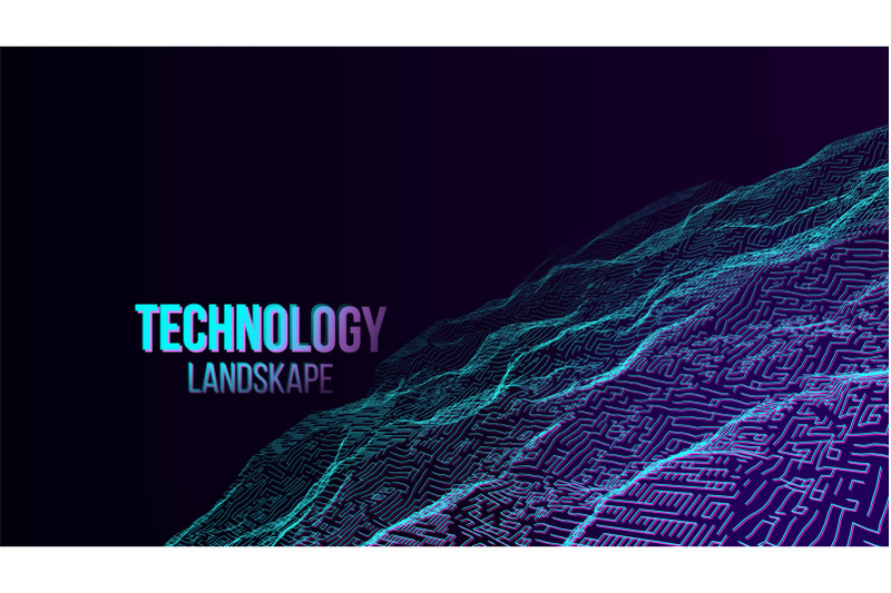 abstract-digital-landscape-background-vector-cyber-space-80s-retro-mountain-technology-illustration