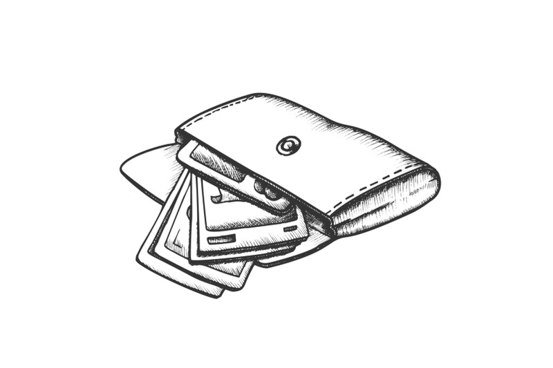 wallet-with-money-banknotes-monochrome-vector