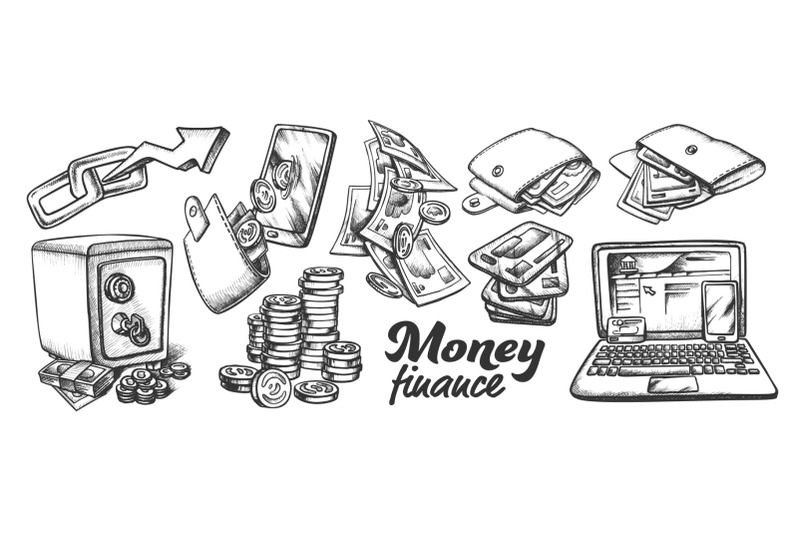 money-finance-collection-monochrome-set-vector