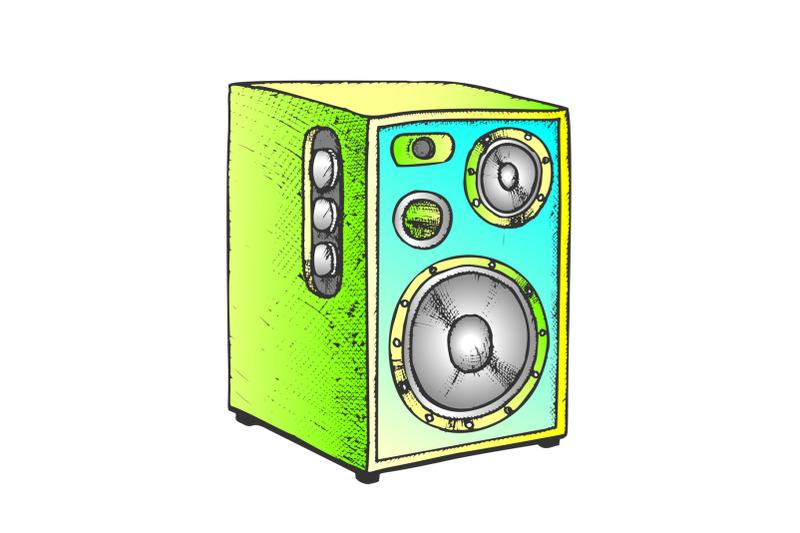 loud-speaker-for-listening-music-color-vector