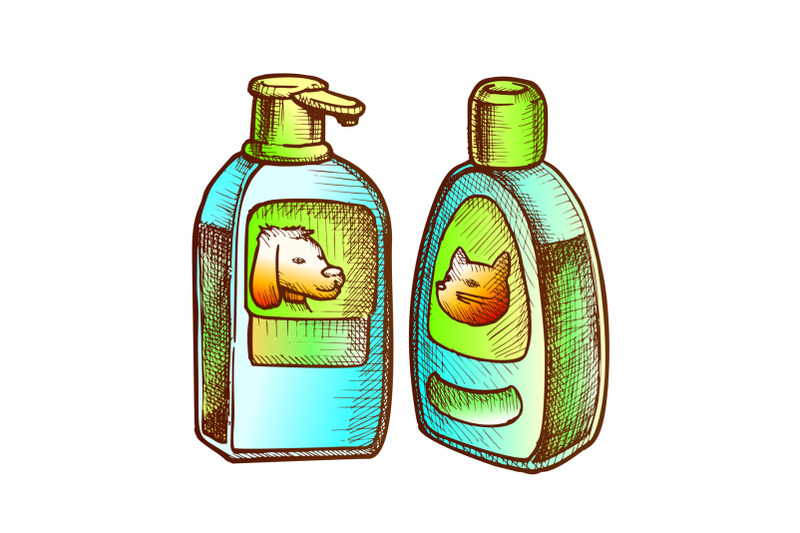 shampoo-bottles-for-cat-and-dog-monochrome-vector