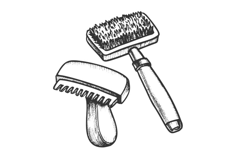 animal-grooming-hair-brushes-monochrome-vector
