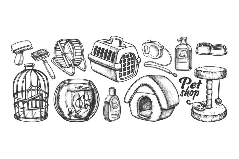 pet-shop-equipment-assortment-monochrome-vector