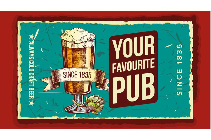 beer-glass-favorite-pub-advertising-poster-vector