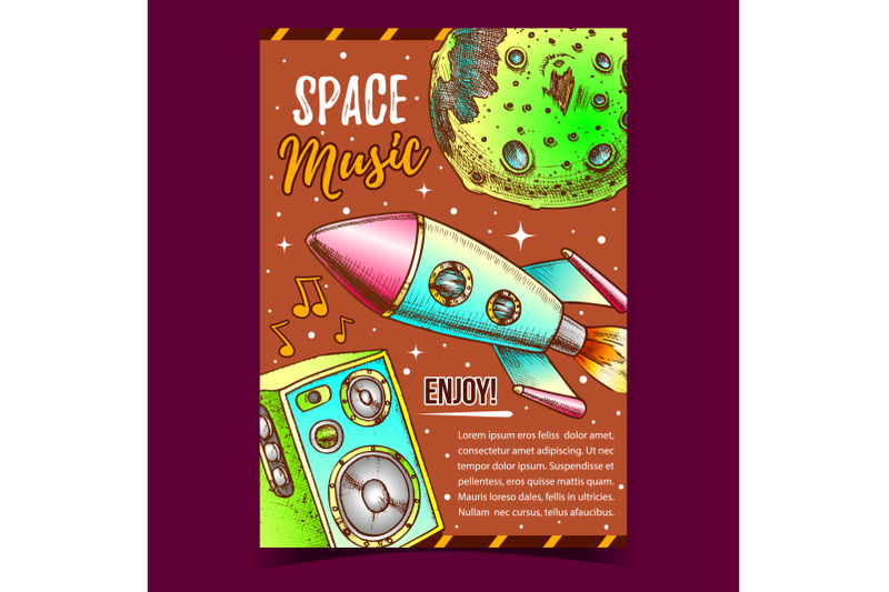 space-music-enjoy-sound-advertising-poster-vector
