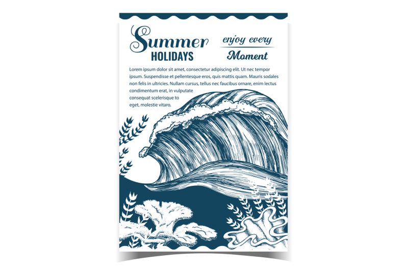 marine-wave-and-undersea-plants-on-poster-vector