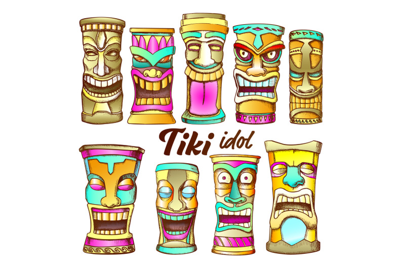 tiki-idol-collection-totem-vintage-color-set-vector