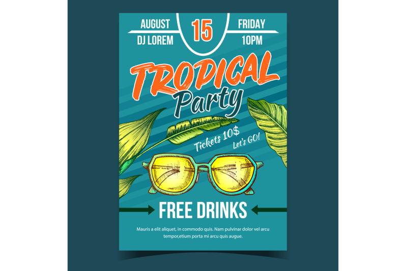 tropical-tree-leaves-and-sunglasses-banner-vector