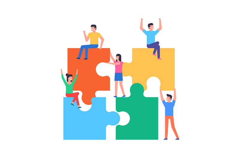 people-connecting-puzzle-elements