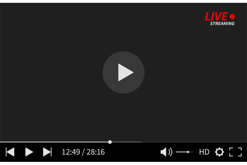 video-media-player-modern-social-media-web-digital-interface-display