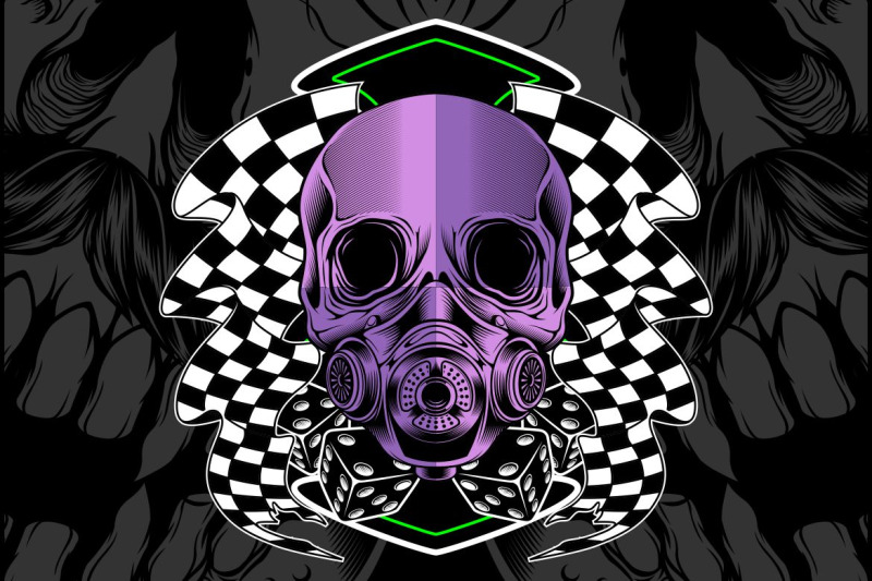 skull-violet-with-race-flag-vector-hand-drawing