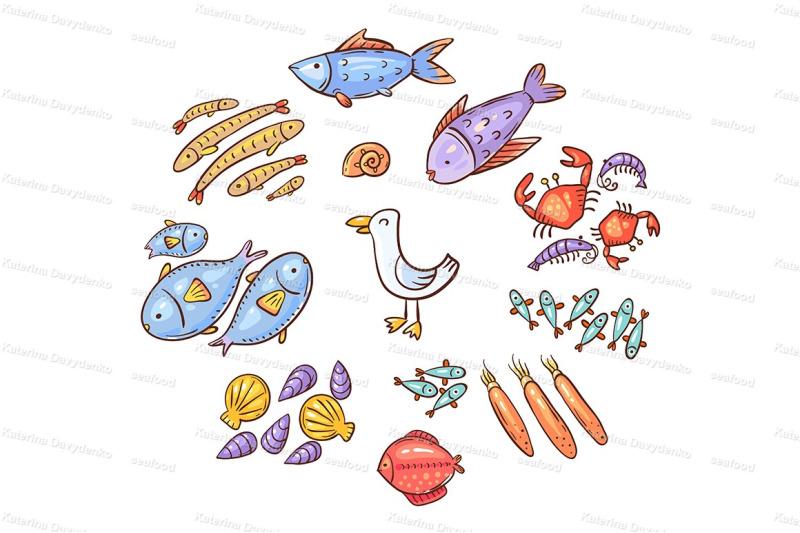 set-of-cartoon-seafood-or-ocean-animals