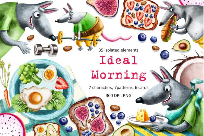 ideal-morning-clip-art-set
