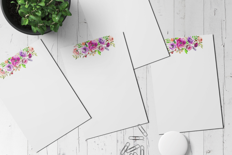 watercolor-floral-printable-stationery-lined-digital-note-paper