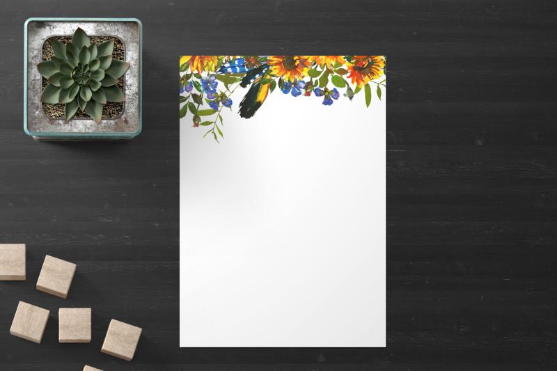 boho-floral-printable-stationery-lined-digital-note-paper