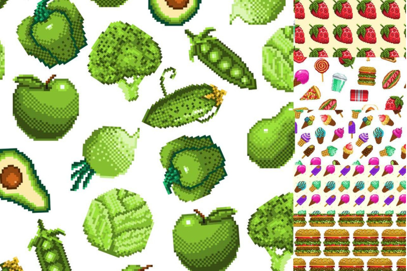 food-icons-on-pixel-style